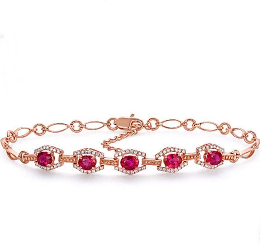 Bracelet Rubis et Diamant or rose 18 ct