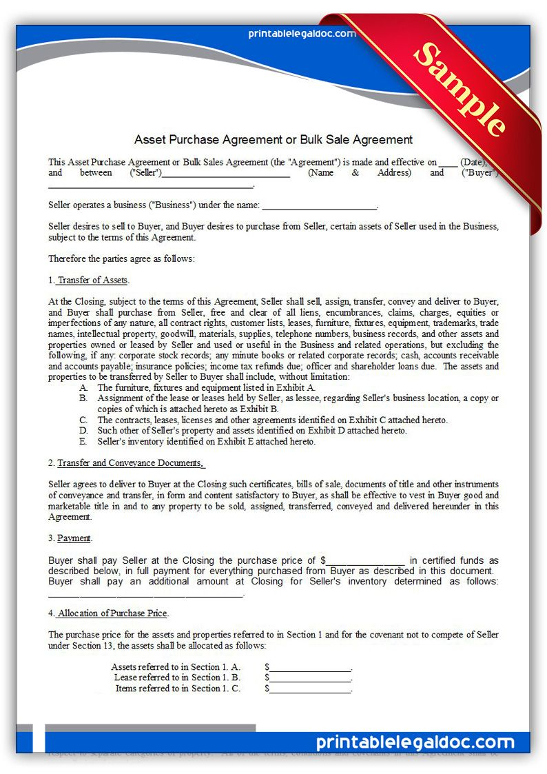 Free Printable Asset Purchase Agreement | Sample Printable Legal Forms