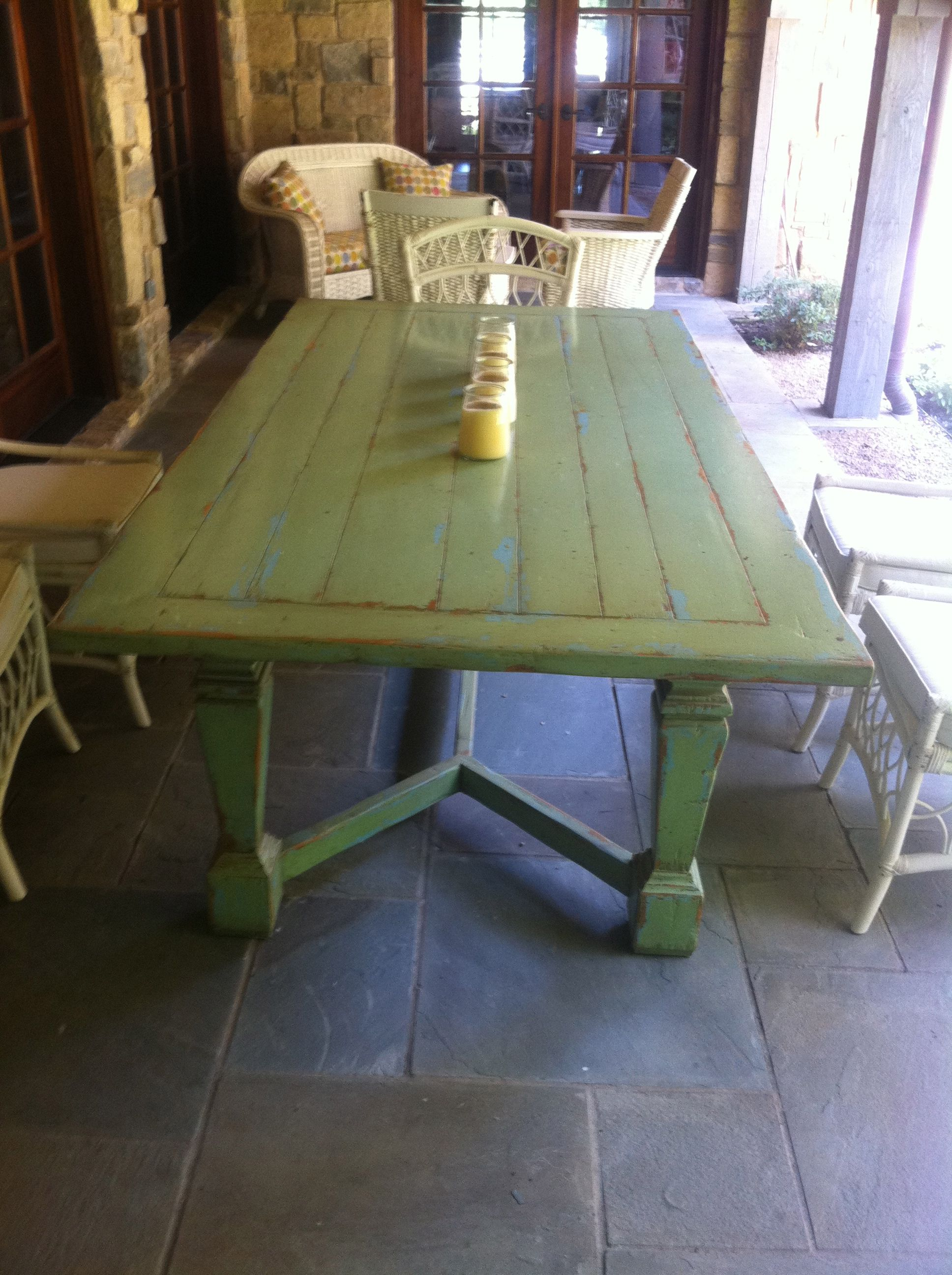 Antique Farm Table love the table and the color Dining