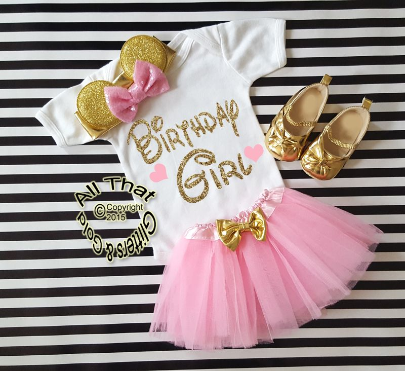 Pink and Gold Glitter Birthday Girl Minnie Birthday Tutu Outfit Age 1 to 6