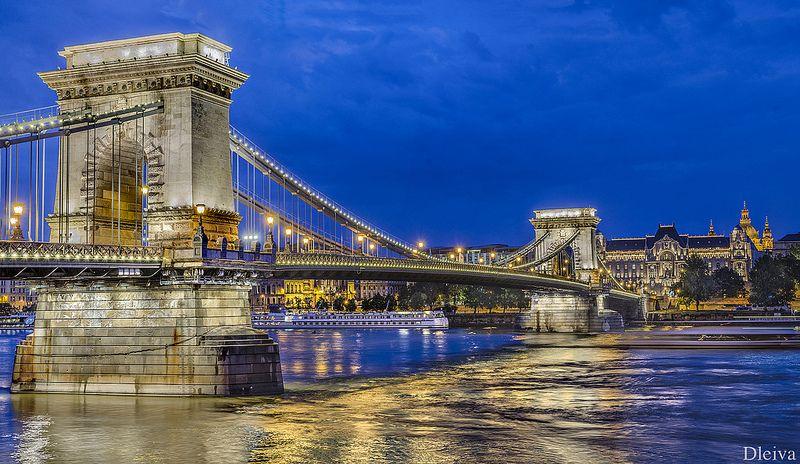 Budapest Vista Clásica Del Puente De Las Cadenas Danube River Budapest Budapest City