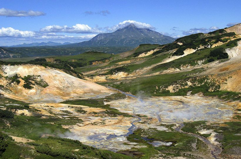 Death Valley, Kamchatka, Russia. Being here for a long time is dangerous to death. The cause is the high concentration of toxic gases, especially hydrogen sulfide, carbon dioxide, carbon sulphide, and others