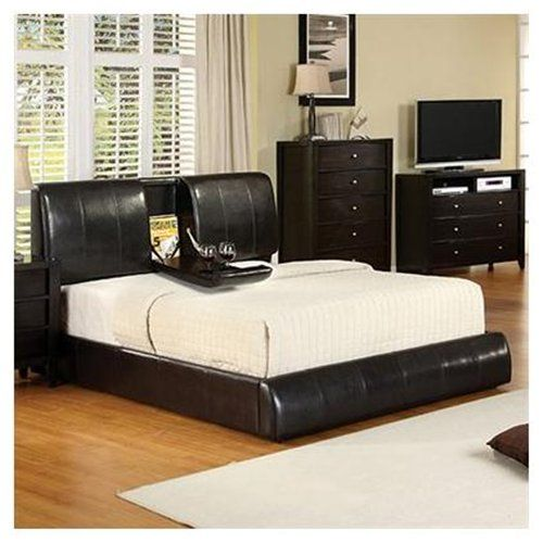 King Size Webster Espresso Leather Platform Bed With Built