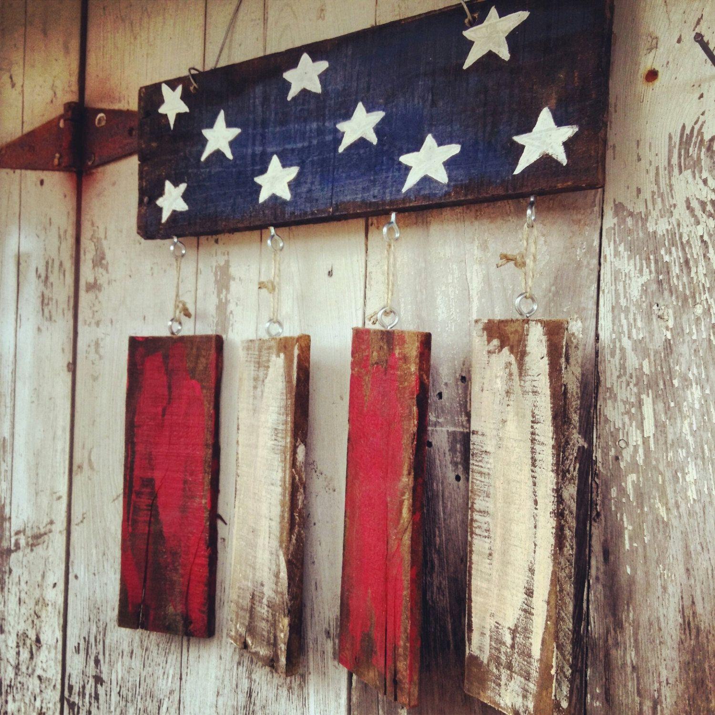 Americana Wall Decor Plaques Signs: Rustic Flag Door Hanger, Patriotic Door Hanger, Welcome