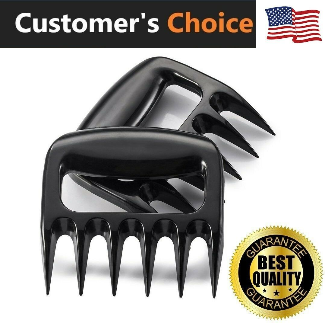 Pulling Lifting Set of 2 GHEART Meat Claws Shredder BBQ Bear Claws Stainless Steel Set Metal Pulled Pork Chicken Barbecue Kitchen Claws with Wood Handle for Shredding