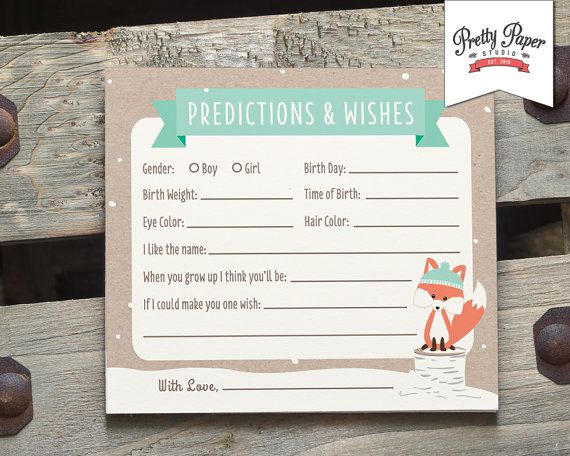 Winter Woodland - Baby Predictions & Wishes.  Baby shower game cards.
