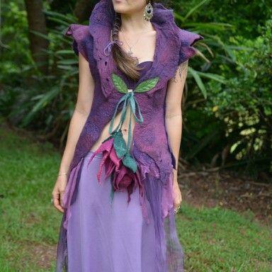 Nuno Felted Fairy Leaf Flower Goddess Princess Vest Gown With High Collar OOAK1