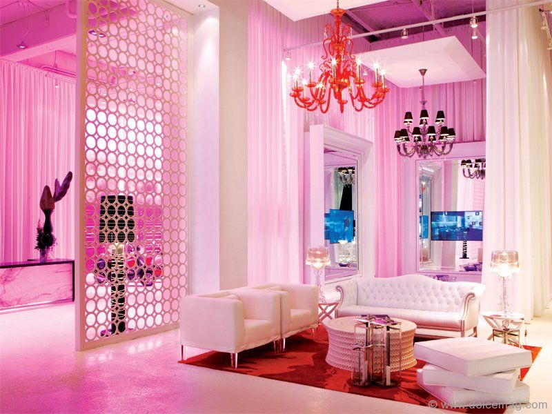 Intricate chandeliers hang in the common area of the South Beach ...