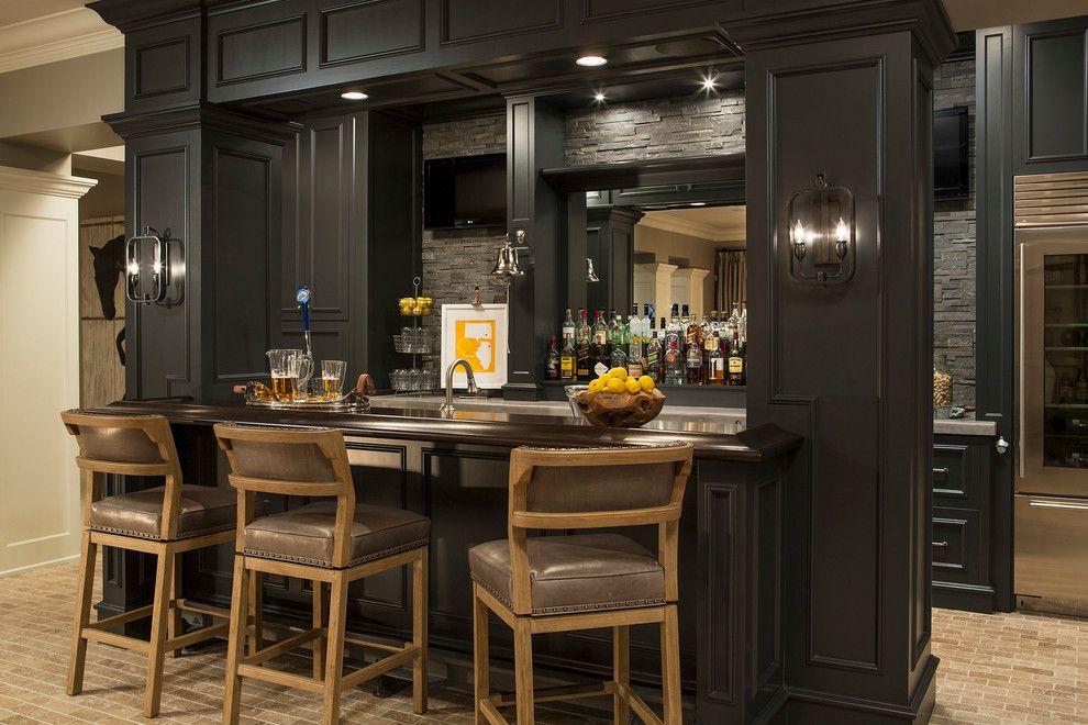Delightful Decoration Bar Home Bar Transitional With Basement Bar Dark Brown Built In  Bar