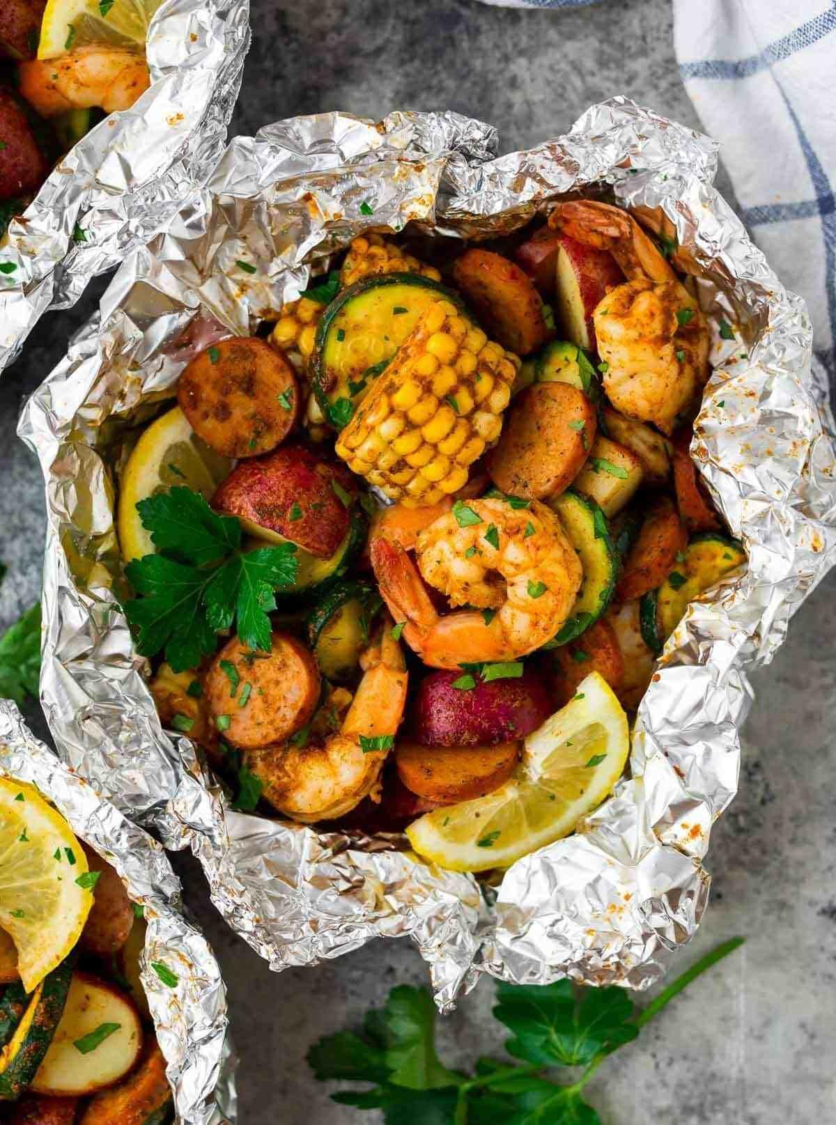 Cajun shrimp boil foil packets with sausage easy recipe