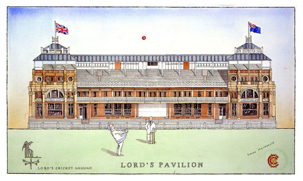 A Wonderful Depiction Of The Beautiful Pavilion Building At Lord S Cricket Ground Google Search Cricket Tours Of England England National