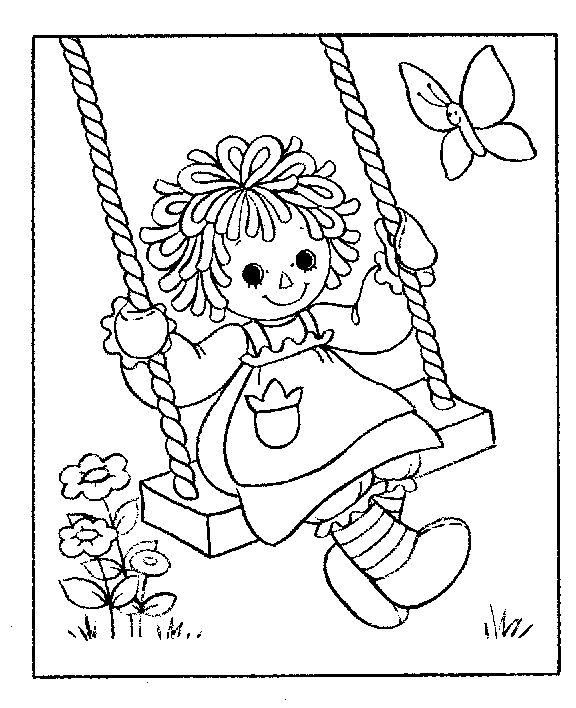 raggedy ann on a swing coloring page coloring pages