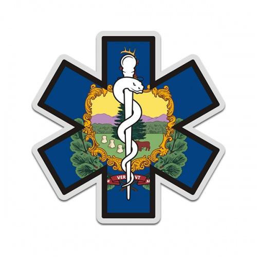 Vermont State Flag Star of Life VT EMT Paramedic EMS