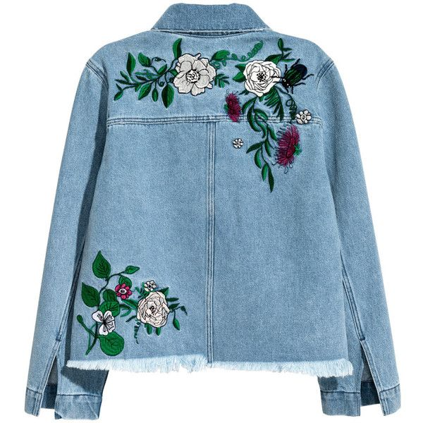 Bestickte Jeansjacke 39,99 (€45) ❤ liked on Polyvore featuring outerwear, jackets, tops, denim, h&m jackets, blue denim jacket, blue jackets and denim jacket