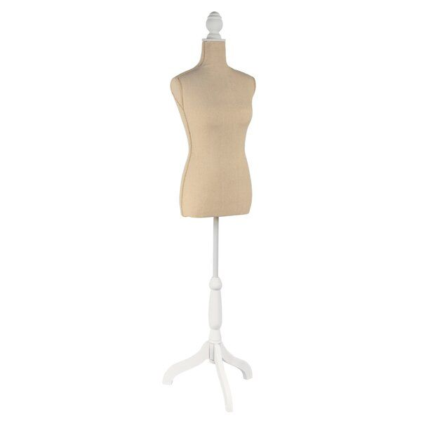 Whether you are looking for vintage-style decor, a place to plan out tomorrow's outfit, or a mannequin for sewing shirts and dresses, this Floorstanding Adjustable Dress Form can do it all. The durable Floorstanding Adjustable Dress Form features a fiberglass interior wrapped in linen for a soft, elegant environment. The height of this Floorstanding Adjustable Dress Form is adjustable from 56