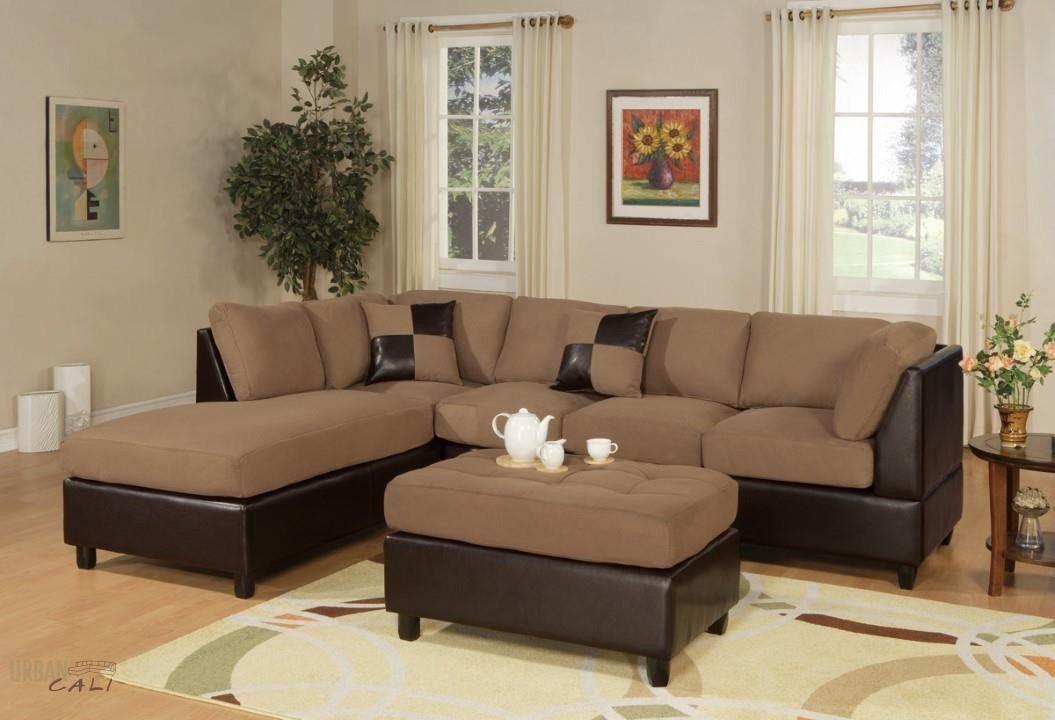 Superb Sacramento Saddle Microfiber Sectional Sofa With Reversible Theyellowbook Wood Chair Design Ideas Theyellowbookinfo
