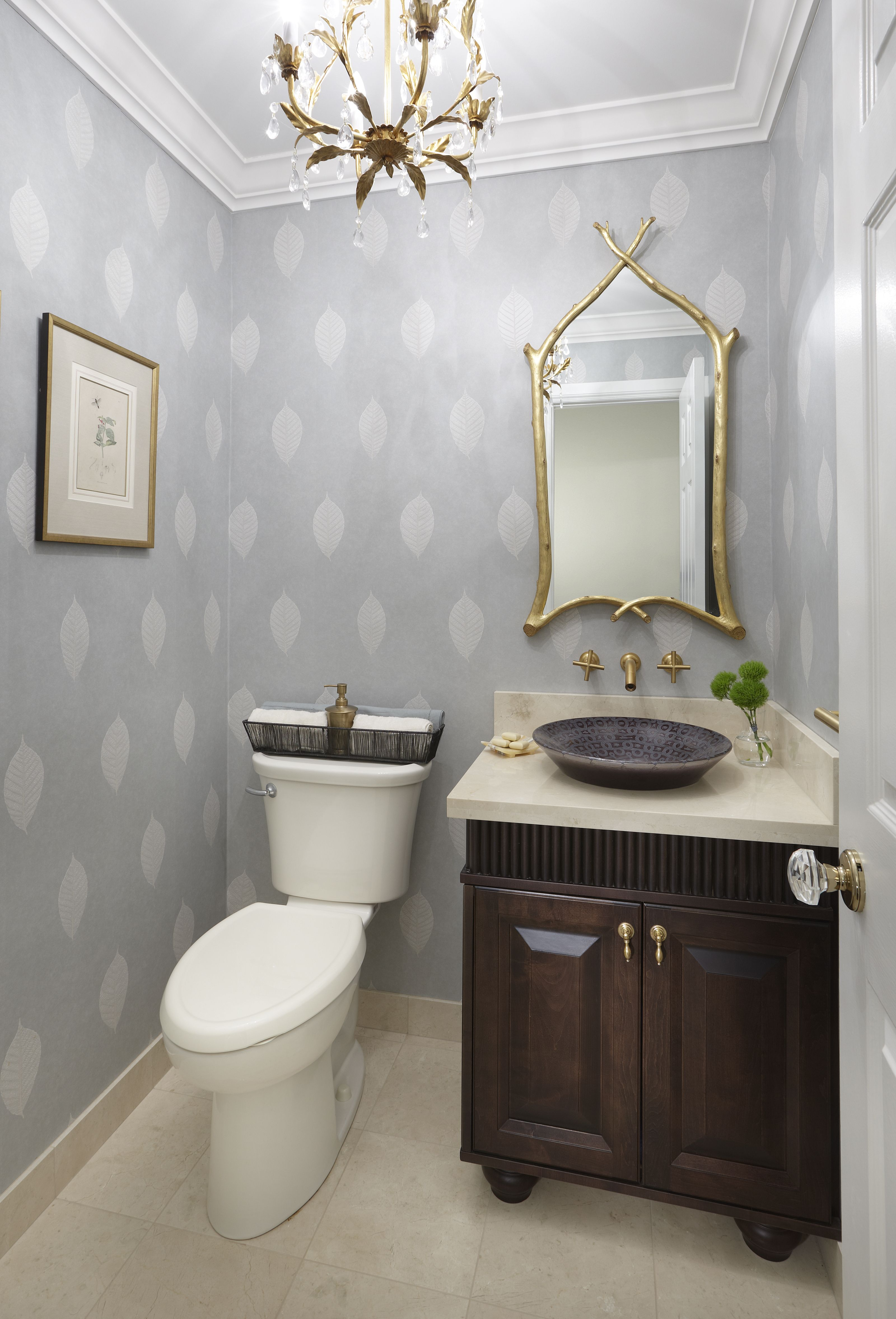 Refined by Design Interior Design Toronto Powder room with blue
