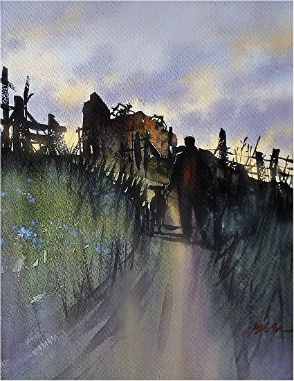 end of day by Thomas W. Schaller Watercolor ~ 22 inches x 15 inches