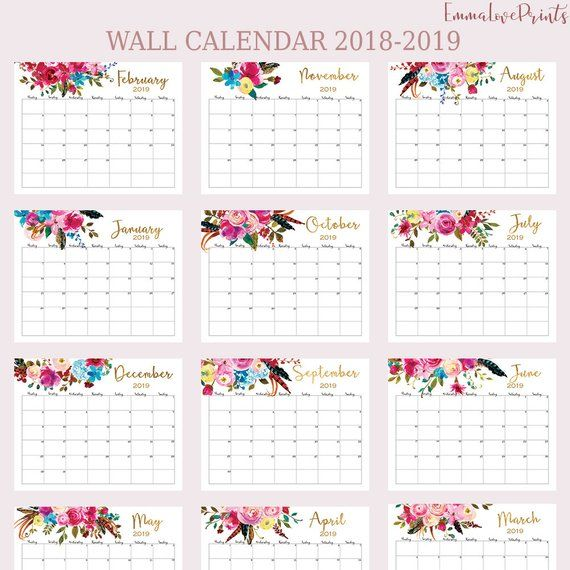 Wall Calendar 2018 2019 Calendar Printable Calendar 2019 Floral