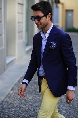 yellow pants blue shirt