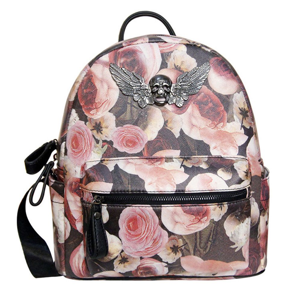 Fashion Peony Floral Print Backpack