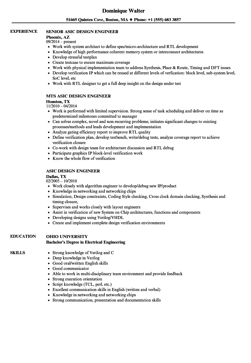 resume format vlsi design engineer    design  engineer