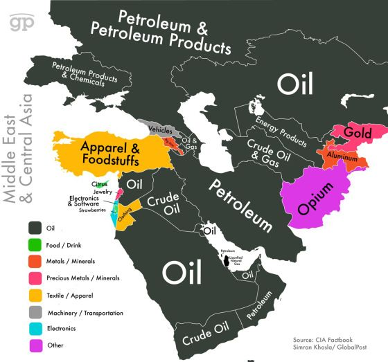 These Maps Show Every Countrys Most Valuable Exports Middle - Middle east physical map 2003
