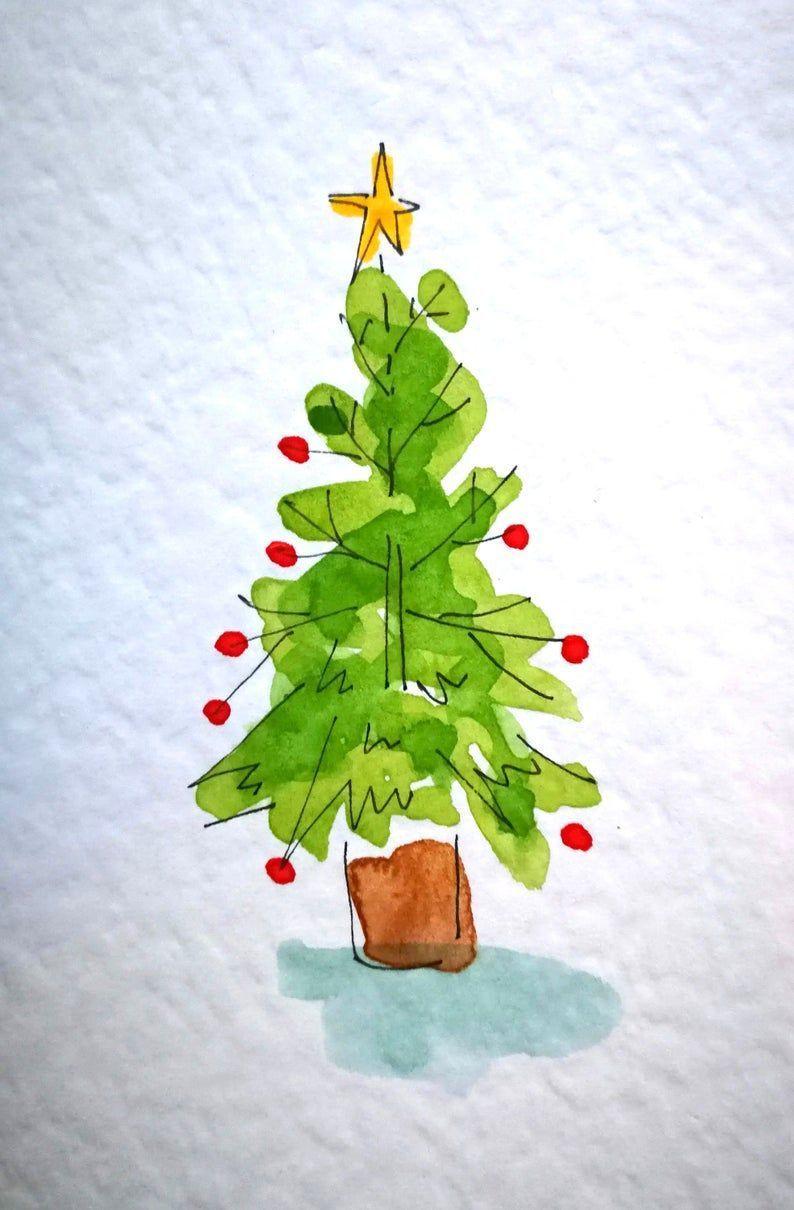 Original Handgemalte Aquarell Weihnachtskarten Sterben Etsy
