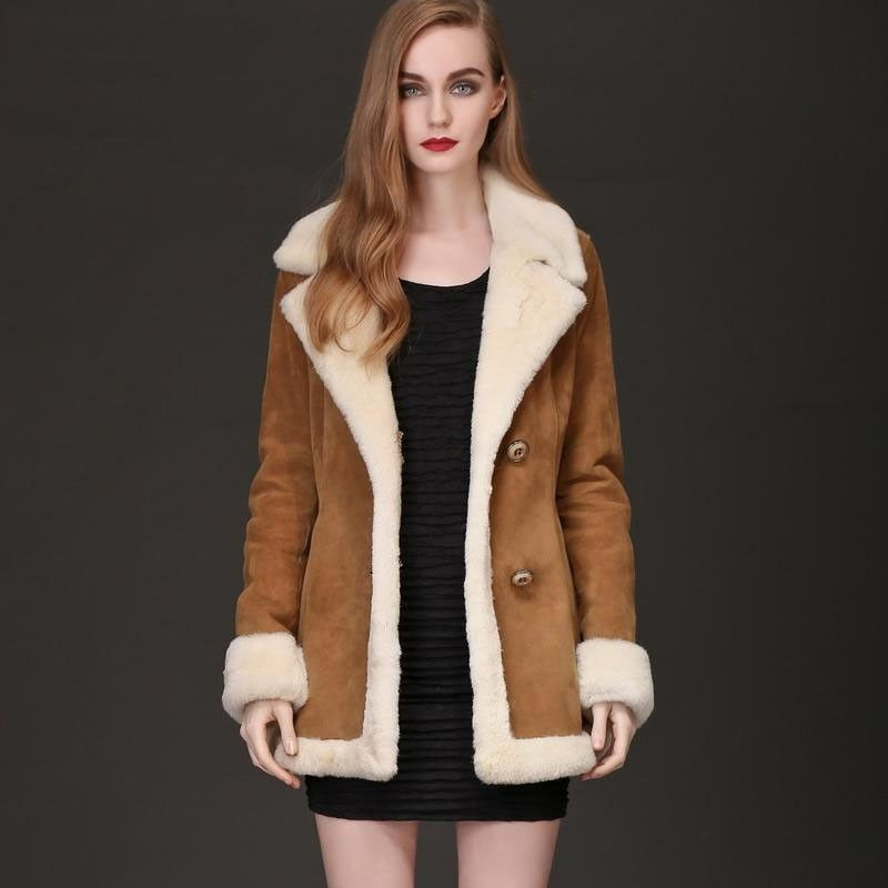 Wendy Hooded Shearling Sheepskin Coat with Toscana Trim | Coats