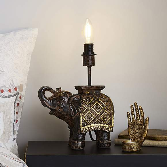 Ella Resin Elephant Bronze Table Lamp Base in 2020 ...