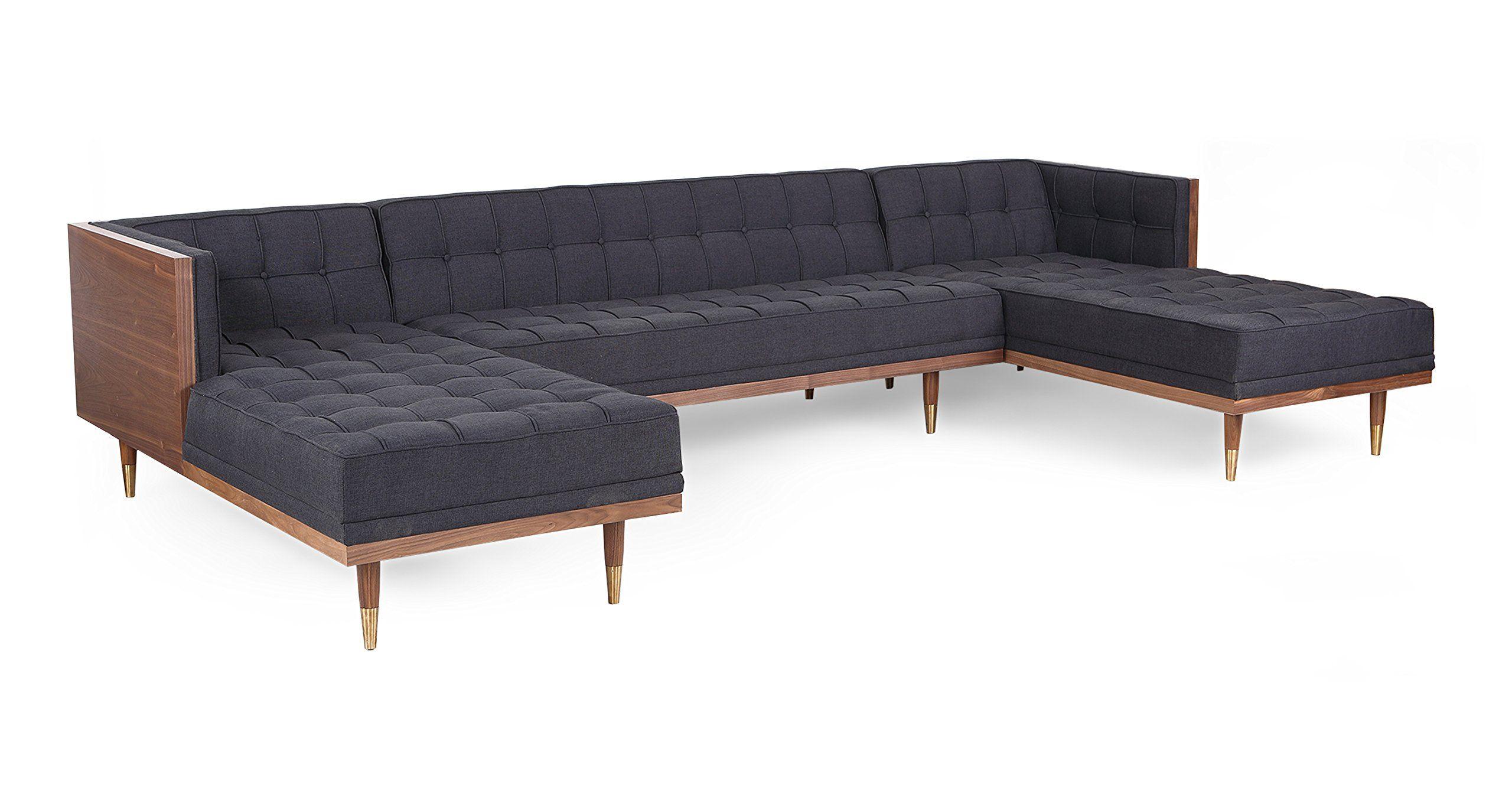 Awesome Kardiel Woodrow Midcentury Modern Box Sofa Ushaped Chaise Cjindustries Chair Design For Home Cjindustriesco