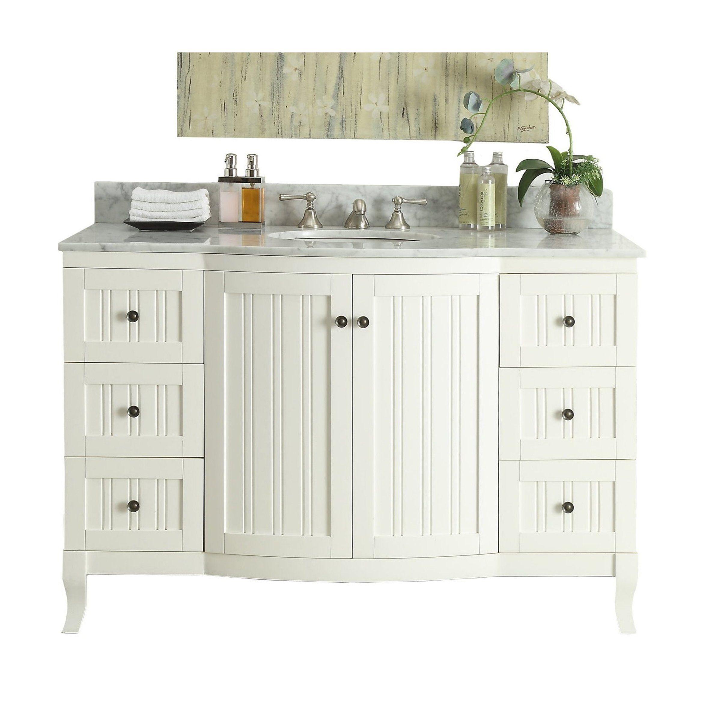 49 Italian Carrra Marble Top White Algar Bathroom Sink Vanity