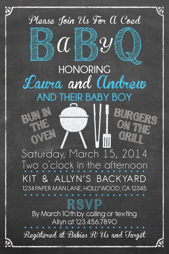 Baby Q Shower Invitation BBQ Baby