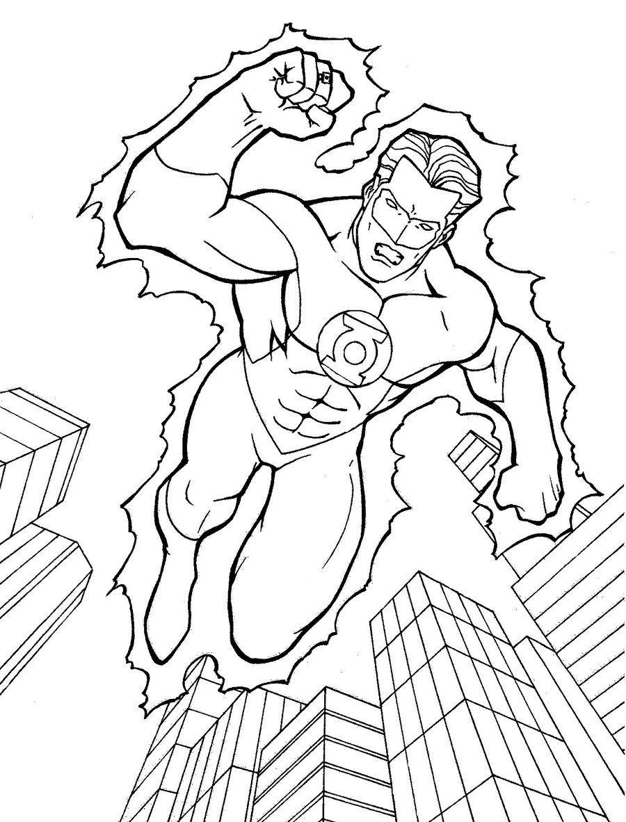 Green Lantern Coloring Pages ~ Free Printable Coloring ... | Para ...