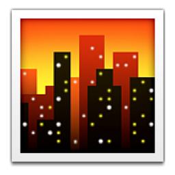 Cityscape At Dusk Emoji U 1f306 U E146 Emoji Cityscape Dusk
