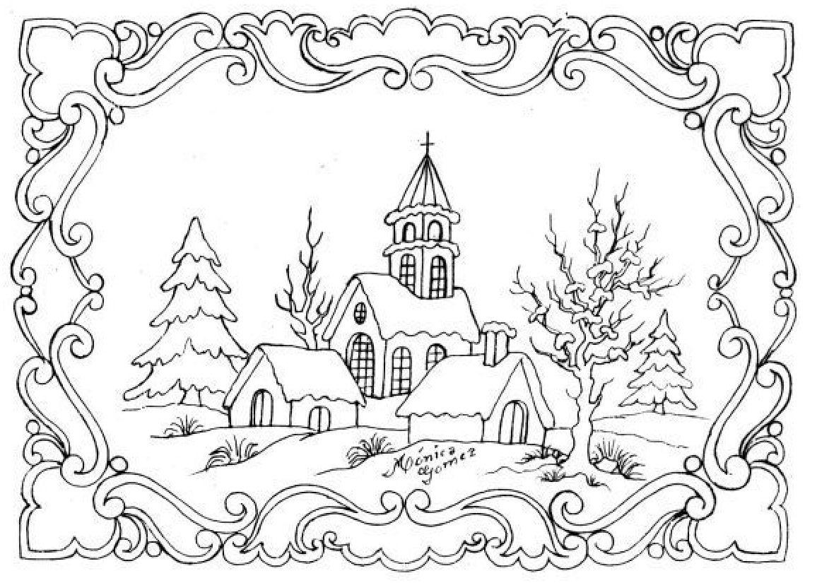 Coloriages  imprimer difficiles avec beaucoup de détails pour les adultes Hiver Loisirs créatifs Beaux dessins Paysage d hiver Joli dessin Hiver Paysage