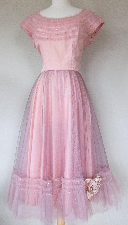 Vintage 50\'s pink and purple tulle prom dress rhinestones medium ...