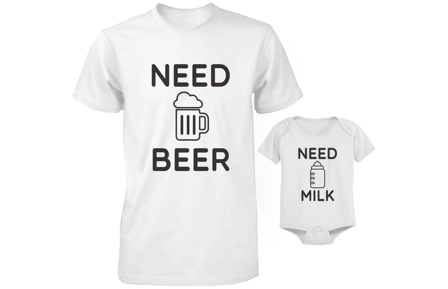 Need Bear Need Milk Matching Shirt Onesie For Daddy Baby Set
