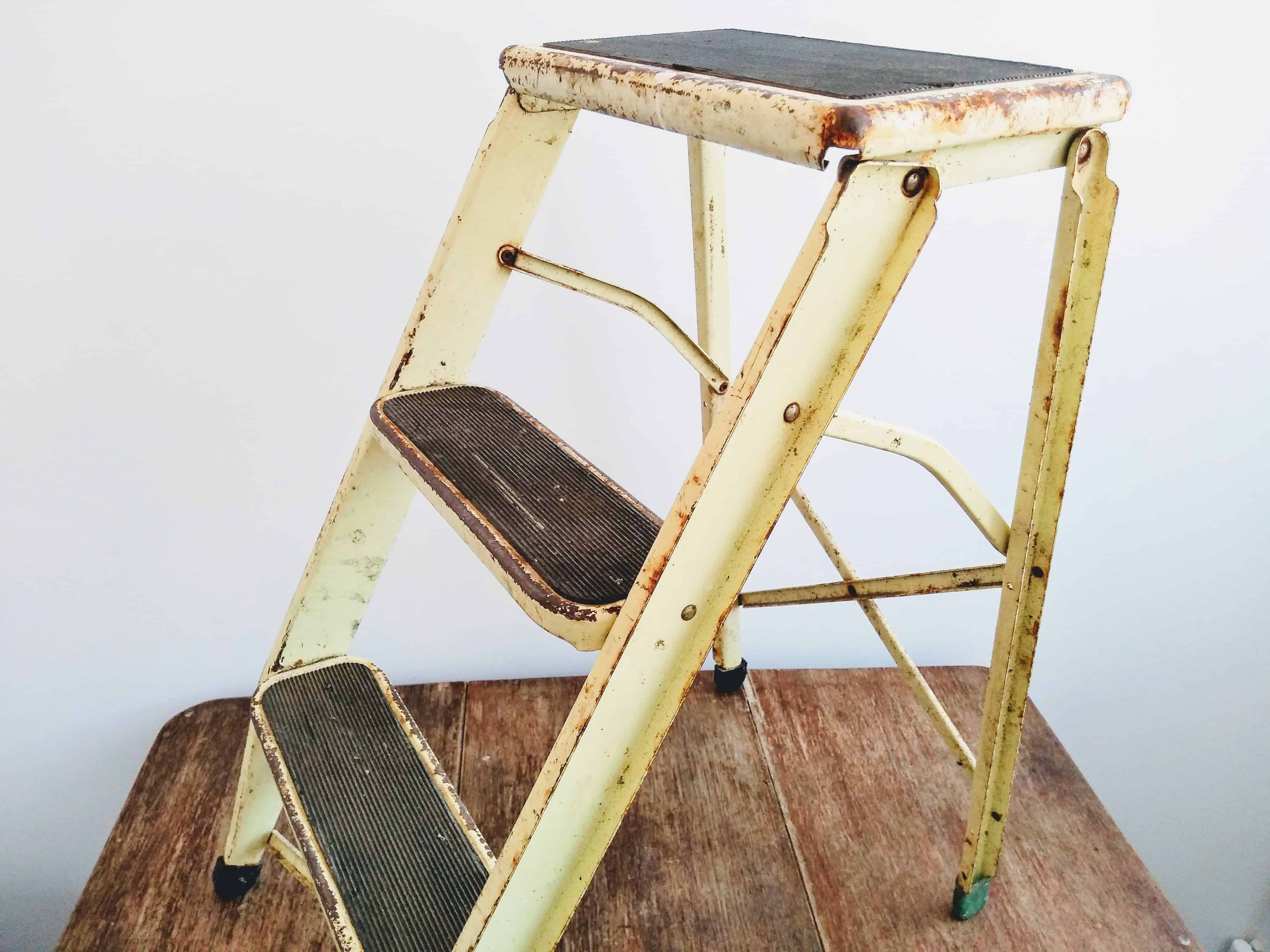 Stupendous Vintage French Metal Yellow Rusty Stepladder Steps Step Pdpeps Interior Chair Design Pdpepsorg