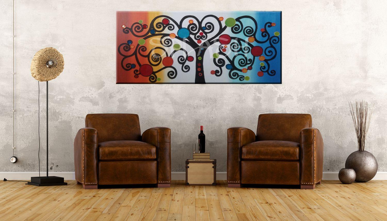 Cuadros modernos cuadros colores cuados rbol vida - Cuadros salon comedor ...