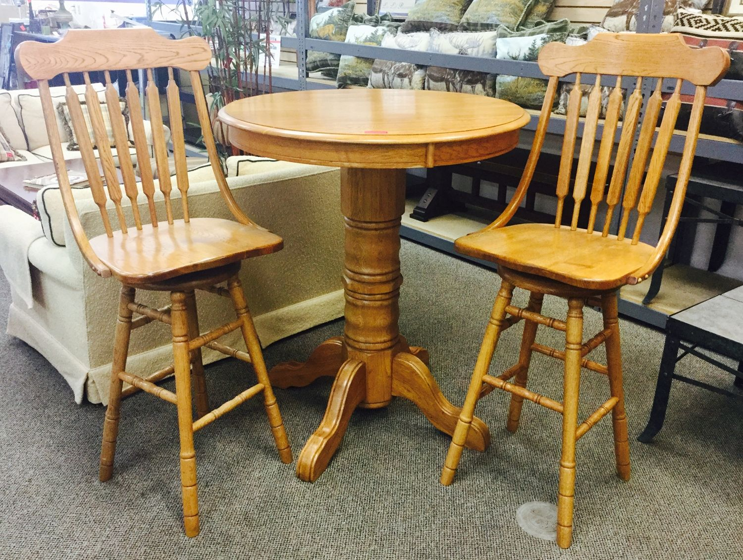 Save 20 Off Everything Thru Memorial Day Solid Oak Bar Height Table Set With Matching Stools In Great Condition Now On For Only 120