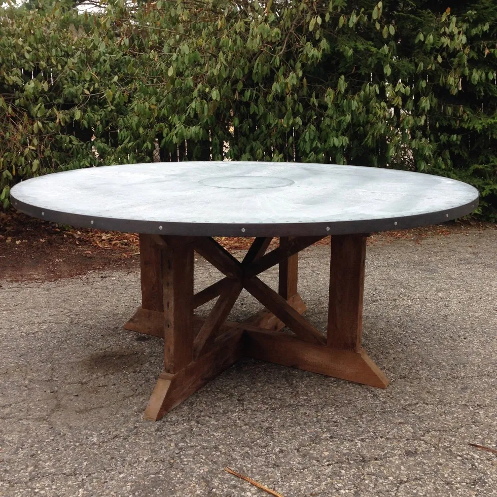 Axe Dining Table With 72 Diameter Zinc Top Table Dining Table Barnwood Table