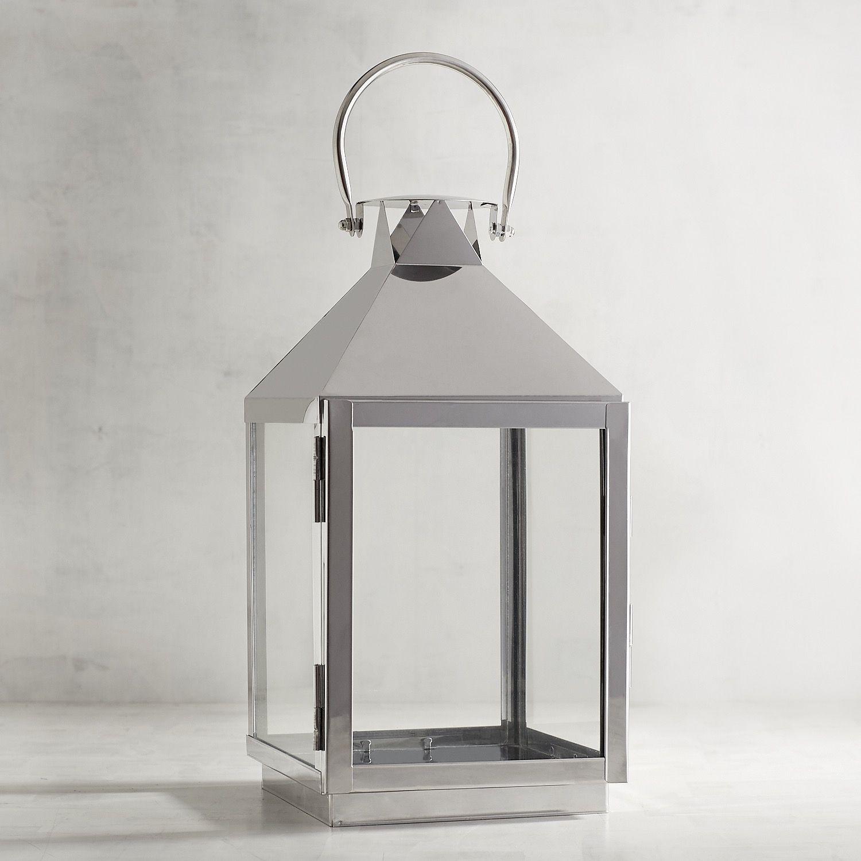 Large Chrome Square Lantern Silver