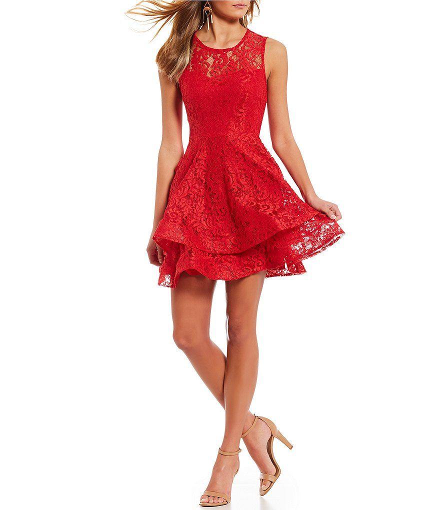 d3189527e5f Jodi kristopher lace double hem fit and flare dress also dance rh pinterest