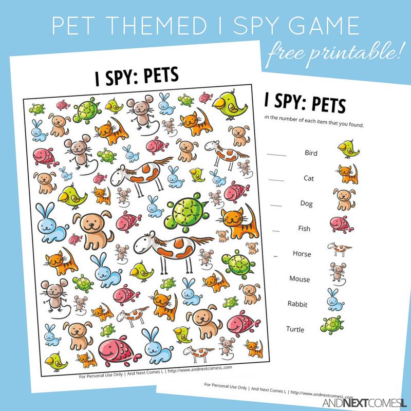 Pet Themed I Spy Game Free Printable For Kids Animal