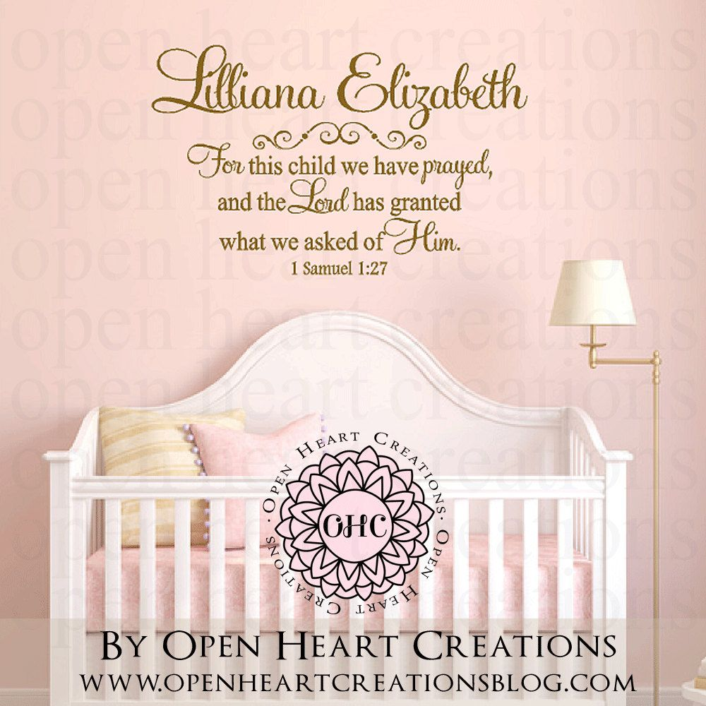 For this Child We Have Prayed Wall Decal with Baby Name $30