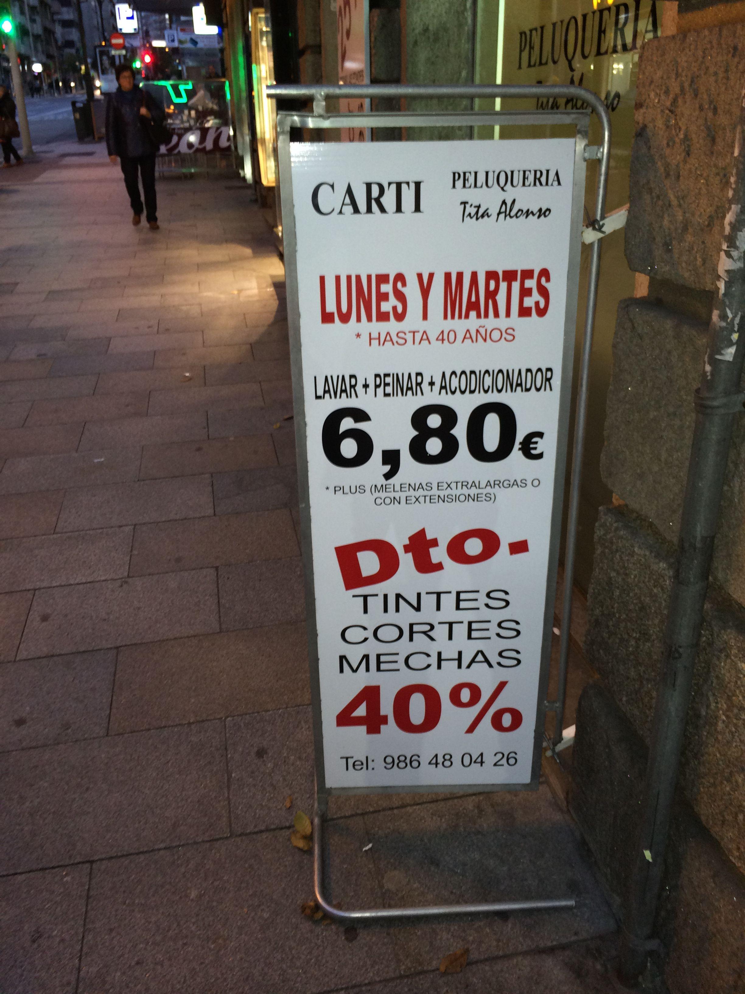 cartel de precios para peluquera rotulado en vinilo