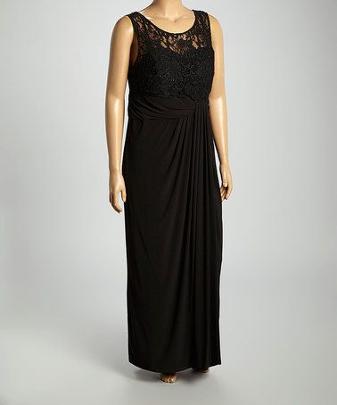 28807ac4664 Look what I found on  zulily! Black Lace Gathered Illusion Sleeveless Dress  - Plus by R M Richards  zulilyfinds