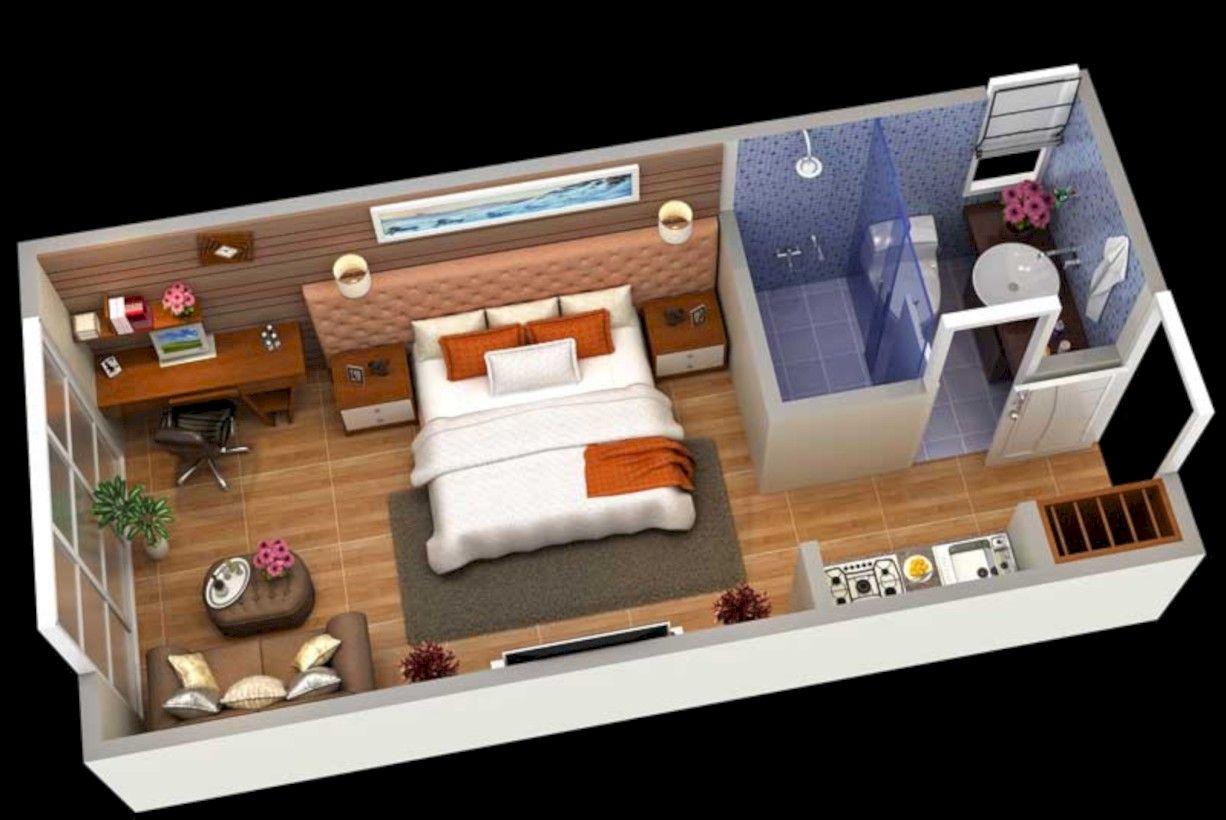 40 Stylish Studio Apartment Floor Plans Ideas Projeto De Apartamento Casas De Hospedes Decoracao De Estudio Apartamento