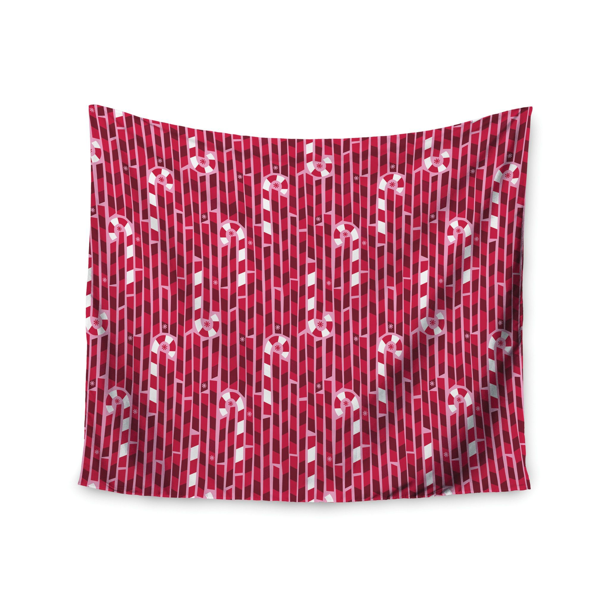 "Allison Beilke ""Candy Cane Lane"" Pink Red Wall Tapestry"
